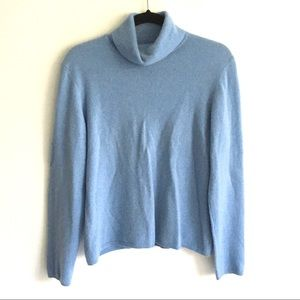 CHARTER CLUB 2-Ply Cashmere Turtleneck Baby Blue L